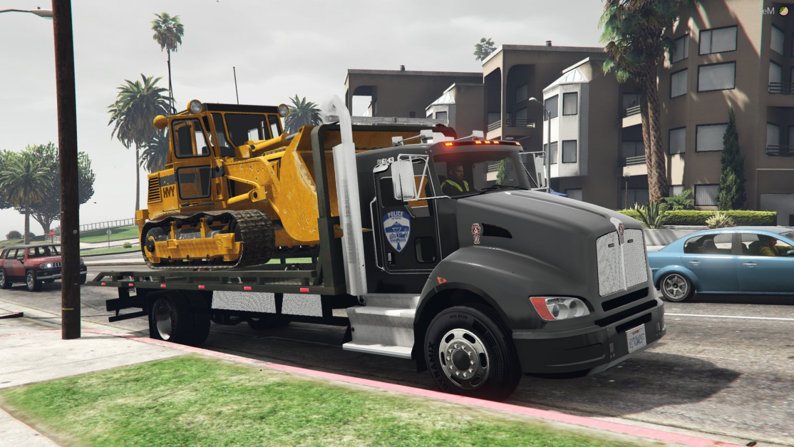 LSPD tow towing a Bulldozer