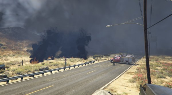 Mega fire on Grand Senora Desert