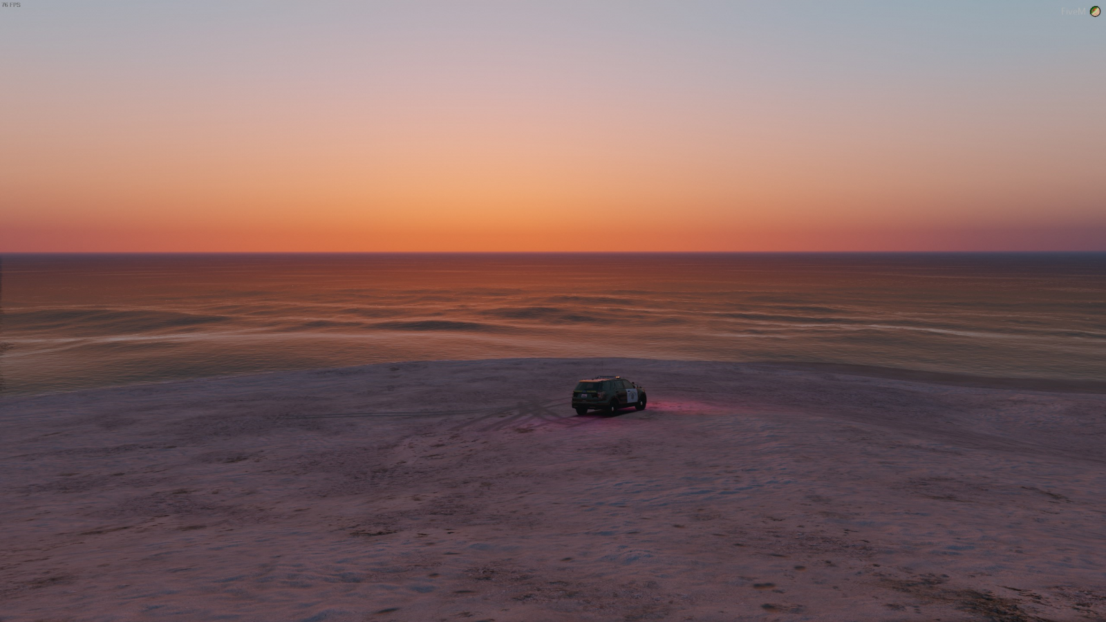 Suv in the sunset