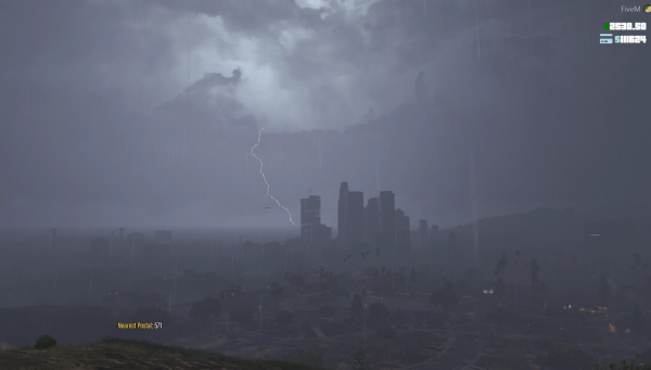 The city during a thunderstorm