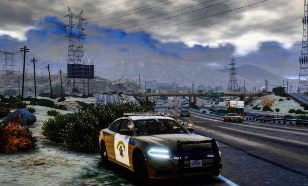 San Andreas Highway Patrol Charger on Route 13