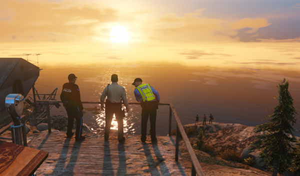 3 Officers Enjoying the Sunset